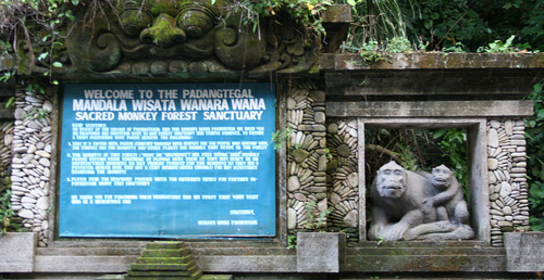 "The welcome sign greeting visitors at the Ubud Monkey Forest - ""Bali Indonesia Ubud Monkey Forest welcome sign"" by Mutante - Own work. Licensed under CC BY-SA 3.0 via Commons - https://commons.wikimedia.org/wiki/File:Bali_Indonesia_Ubud_Monkey_Forest_welcome_sign.jpg#/media/File:Bali_Indonesia_Ubud_Monkey_Forest_welcome_sign.jpg"